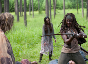 Michonne brings it to walkers in The Walking Dead.