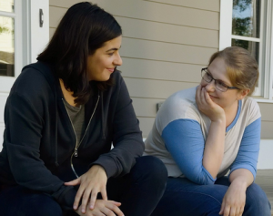 Denise (right), sharing a moment with girlfriend Tara in The Walking Dead.